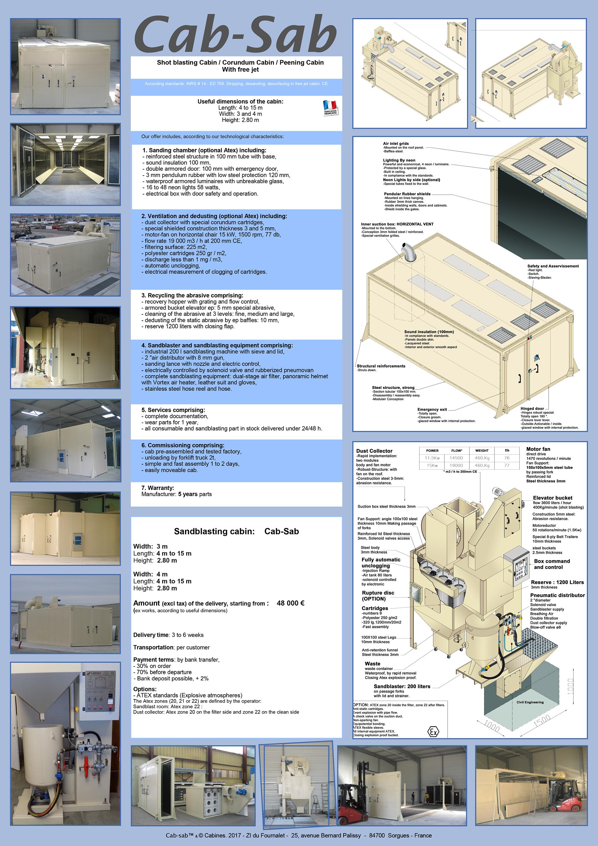 Sandblast room and sandblasting Equipements | On-line sale